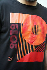Puma 2012 da Uomo Stile Retrò Cotone Tee Nero Grafica T Shirt Top XL