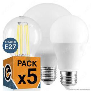 5 LAMPADINE LED attacco E27 9W a 20W Lampada Goccia Bulbo Filamento Globo Sfera