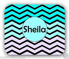 Personalized Teal Lavender Chevron Anti-Slip Mouse Pad Mat Mice Mousepad