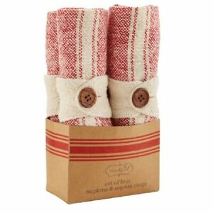 Mud Pie H1 Farmhouse Christmas Red Cloth Napkins & Rings 8pc Set 42800035