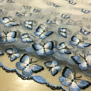 1M DIY Lace Fabric Embroidered Butterfly Bridal Wedding Dress Tulle Sew Material