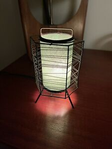 Mid Century Modern Atomic table lamp tripod base fiberglass? shade