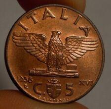 5 CENTESIMI 1938 PERIZIA FIOR DI CONIO ROSSO ECCEZIONALE ITALY