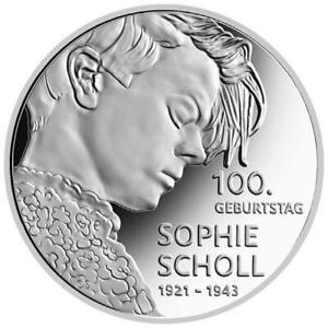 Deutschland - 20 Euro 2021 - Sophie Scholl - 100. Geburtstag - 18 gr Silber PP