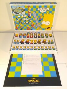1991 Vintage The Simpsons 3D Chess Set Game - Excellent Condition - Complete