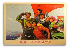 CHINESE PROPAGANDA POSTER Communist Cultural Revolution Liberate Taiwan Color