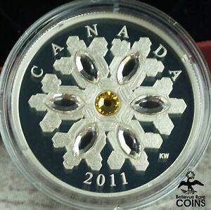 2011 Canada $20 Crystal Snowflake Topaz 1oz Silver .999 Coin w/ Box & COA
