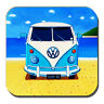 Campervan Drinks Coaster Vintage Retro Blue Camper Summer Beach Acrylic