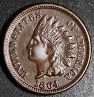 1864 INDIAN HEAD CENT - With LIBERTY & DIAMONDS - AU UNC - BRONZE