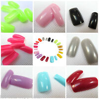 100x LONG FULL COVER FALSE TOE, FINGER NAILS GLUE & FILE 17+ COLOURS FREE UK P&P