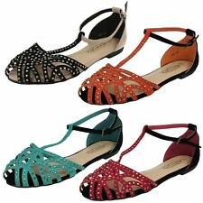 Ladies Spot On T-Bar Studded Closed Toe 'Summer Shoes'