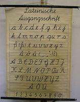 Wandkarte Lateinische Ausgangsschrift 69x96c vintage chart 1953 BRD Normschrift
