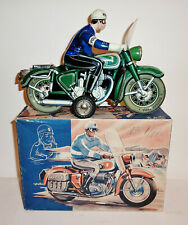 """TIPPCO West Germany Tin Litho Friction 1950s POLICE MOTORCYCLE WITH BOX ~ 11.25"""""""