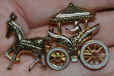 VINTAGE Signed Spain Damascene Articulating Prancing Horse Carriage Pin Brooch