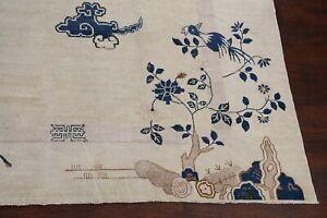 Pre-1900 Antique Vegetable Dye Peking Art Deco Nichols Chinese Large Rug 11'x12'