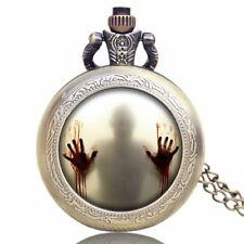 Walking Dead Horror Thriller Cartoon Pendant Necklace Pocket Watch Cosplay Men