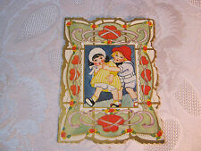 Whitney Made Valentine Card Embossed With Boy & Girl Vintage T*