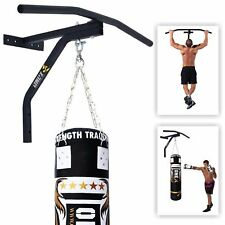 New Iron Chin Up Pull Up Bar with Punch Bag Bracket Wall Mounted Fitness Boxing