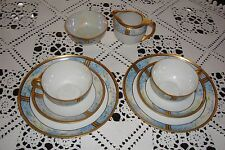LIMOGES HAND PAINTED TEA /COFFEE SET FOR 2, CUPS, PLATES, SUGAR, CREAMER