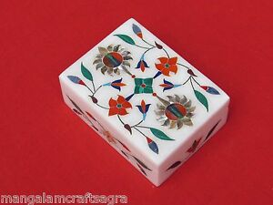 Marble Box Jewelry Inlay Pietra Dura Work Home Decor For Gifts