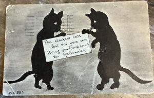 Vintage Halloween Postcard 2 Black Cats Good Luck 1916 Flaws Antique