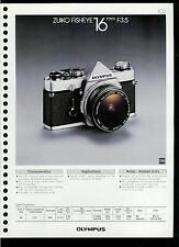 Factory 1978 Olympus Zuiko Fisheye 16mm F3.5 Camera Lens Dealer Data Sheet Page