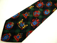 """Brooks Brothers Makers Mens Necktie Tie Navy Blue Green Plaid Crests Crown 57"""""""