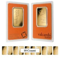 Lot of 10 - 1 oz Gold Bar Valcambi Suisse .9999 Fine (In Assay)