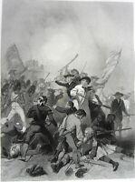 American Revolutionary War BATTLE OF BUNKER HILL ~ Old 1866 Art Print Engraving