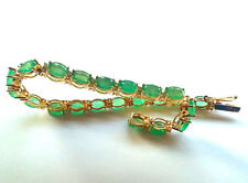 17.44ct Diamond & Emerald Bracelet in 14K Yellow Gold
