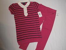NWT $46.5 NAUTICA 2pc set shirt legging GIRL size 6 stripe pink