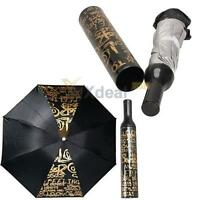 Portable Fashion Three Folding Wine Bottle Sun-rain Umbrella Gift Black Letter