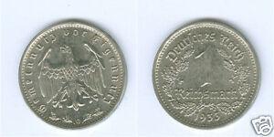 Drittes Reich  1 Reichsmark 1933 G  stempelglanz