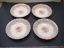 "Canonsburg Pottery Keystone-Lajean, scalloped, 22K gold trim 4-7 3/4"" soup bowls"