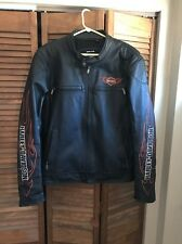 Harley Davidson Men's Genuine Leather Jacket! *Riding Gear*Sz Large ~Flame Arms