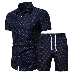 Summer Flower/Dot Printed Two-piece Set Button Down Shirt with Drawstring Shorts