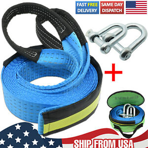 16' 8T Heavy Duty Winch Rope Pull Strap Tow Road Recovery Emergency Chain Hooks