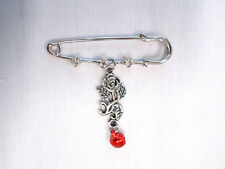 "2"" PIN BROOCH w 3 CRYSTALS & OPEN RED ROSE FLOWER & RED DROP DOUBLE DANGLE CHARM"
