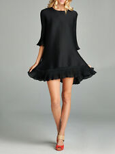 Nabisplace Black Chloe Pleated Dress with Ruffle Bottom Black Onesize