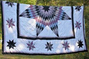 """vtg large 8 pt star patchwork   Quilt 82x88"""" FLAWS"""