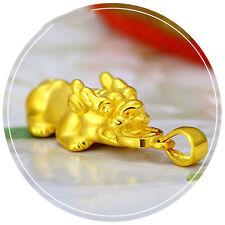 1PCS Pure 999 24K Yellow Gold Craved Bless 3D Coin 貔貅 PIXIU Pendant /2g