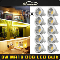 10PCS Cree 3W MR16 COB LED Spot Light Lamp Warm White Bulbs Spotlight 12-24V NEW