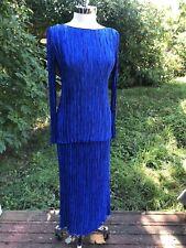 Mary McFadden couture Blouse Shirt Skirt Dress Plisse Crinkle Set Blue Vintage