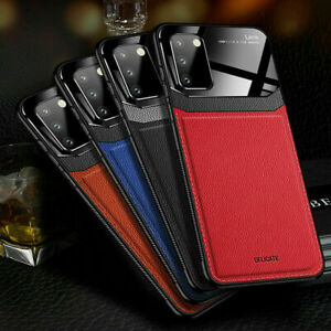 For Samsung Galaxy S21 S20 FE Plus Note 20 Ultra Leather Rubber Slim Case Cover