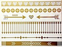 Flash Einmal Temporary Klebe Tattoo Gold Silber 8teile Armband Hals Kette G26S