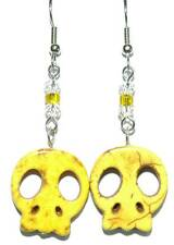 BRIGHT YELLOW STONE SKULL DANGLE EARRINGS (H335)