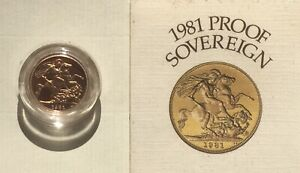 Proof gold sovereign, 1981.
