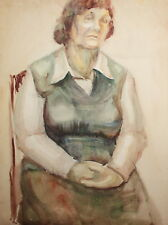 Old seated woman portrait vintage wc painting