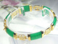 Green Jade Gold Plated Fortune Emolument Longevity Luck Clasp Bangle Bracelet
