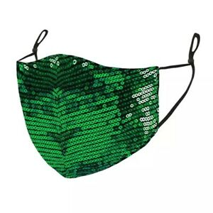 Green Glitter Sequins Washable Breathable Reusable Mouth Face Covering mask